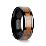 Men's Titanium Wedding Band with Koa Wood Inlay