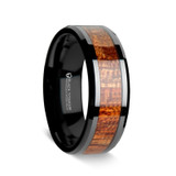 Men's Titanium Wedding Band with Mahogany Wood Inlay