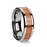 Men's Titanium Wedding Band with Oak Wood Inlay