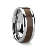 Men's Titanium Wedding Band with Walnut Wood Inlay