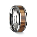 Men's Titanium Wedding Band with Zebra Wood Inlay