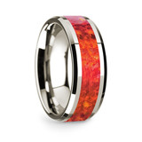 Men's 14k White Gold Wedding Band with Red Opal Inlay