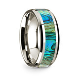 Men's 14k White Gold Wedding Band with Mother of Pearl Inlay