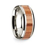 Men's 14k White Gold Wedding Band with Oak Wood Inlay
