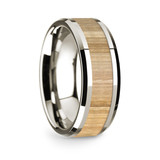 Men's 14k White Gold Wedding Band with Ash Wood Inlay