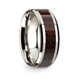 Men's 14k White Gold Wedding Band with Bubinga Wood Inlay