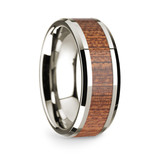 Men's 14k White Gold Wedding Band with Cherry Wood Inlay