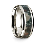 Men's 14k White Gold Wedding Band with Coprolite Inlay