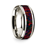 Men's 14k White Gold Wedding Band with Opal Inlay