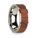 Men's 14k White Gold Wedding Band with Orange Goldstone Inlay
