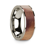 Men's 14k White Gold Wedding Band with Olive Wood Inlay
