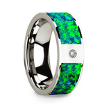 Men's 14k White Gold Diamond Wedding Band with Opal Inlay