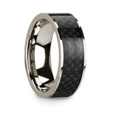 Men's 14k White Gold Wedding Band with Carbon Fiber Inlay