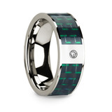 Men's 14k White Gold Diamond Wedding Band with Carbon Fiber Inlay