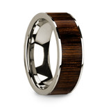 Men's 14k White Gold Wedding Band with Walnut Wood Inlay
