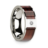 Men's 14k White Gold Diamond Wedding Band with Redwood Inlay
