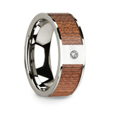 Men's 14k White Gold Diamond Wedding Band with Cherry Wood Inlay