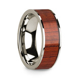Men's 14k White Gold Wedding Band with Padauk Wood Inlay