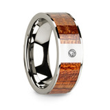 Men's 14k White Gold Diamond Wedding Band with Mahogany Wood Inlay