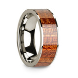 Men's 14k White Gold Wedding Band with Mahogany Wood Inlay