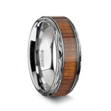 Ohana Men's Titanium Wedding Band with Koa Wood Inlay