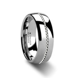 Baldwyn Men's Tungsten Wedding Band with Braided Palladium Inlay