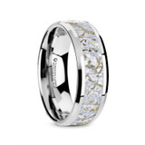 Mesozoic Men's Tungsten Wedding Band with Dinosaur Bone Inlay