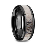 Tres Men's Black Ceramic Wedding Band with Deer Antler Inlay