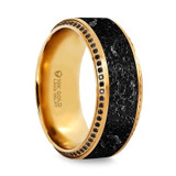 Hyperion Men's 10k Yellow Gold Black Diamond Wedding Band with Lava Rock Inlay