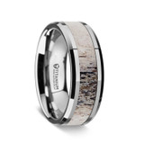 Caribou Men's Titanium Wedding Band with Deer Antler Inlay