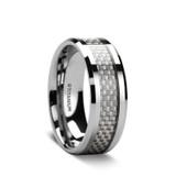 Tantalus Men's Titanium Wedding Band with Carbon Fiber Inlay