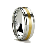 Apollo Men's Tungsten Wedding Band with Gold Inlay