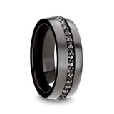 Pilot Men's Gunmetal Tungsten Wedding Band with Black Sapphires