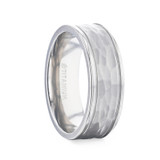 William Hammered White Titanium Men's Wedding Band from Little King Jewelry