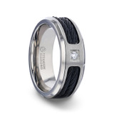 Sector Titanium Men's Wedding Band with Black Cable Inlay & Diamond from Little King Jewelry