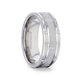 Warrick Titanium Grooved Men's Wedding Band from Little King Jewelry