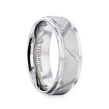 Virage Titanium Men's Wedding Band with Diagonal Grooves from Little King Jewelry