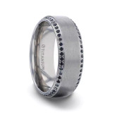 Champion Brushed Titanium Men's Wedding Band with Black Sapphires from Little King Jewelry