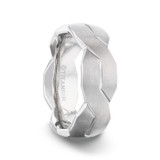 Endure Titanium Men's Wedding Band with 9 White Diamonds in Silver Inlay from Little King Jewelry