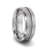 Albert Titanium Men's Wedding Band with Steel Wire Cable Inlay from Little King Jewelry