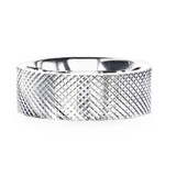 Noble Diaganol Grooved Silver Men's Wedding Band from Little King Jewelry