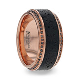 Hyperia Men's 10k Rose Gold Black Diamond Wedding Band with Lava Rock Inlay