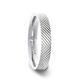 Noble Diaganol Grooved Silver Women's Wedding Band