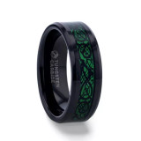 Allure Black Tungsten Men's Wedding Band with Green Celtic Dragon Inlay