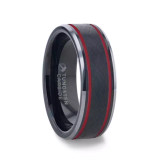 Olis Wire Brushed Black Tungsten Men's Wedding Band with Red Grooves