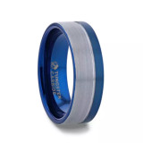 Atlantic Blue Tungsten Men's Wedding Band with Silver Grooves