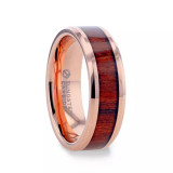 Dylan Rose Gold Plated Tungsten Men's Wedding Band with Koa Wood Inlay