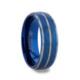 Carmel Faceted Blue Tungsten Men's Wedding Band