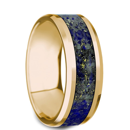 Olbios 14k Yellow Gold Men's Wedding Band with Blue Lapis Lazuli Inlay