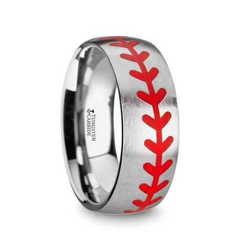 Callias Titanium Brushed Men's Wedding Band with Red Baseball Stitching Pattern